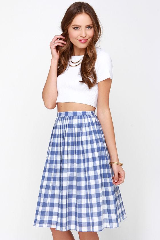 d538c5aed7b0 Cute Ivory and Blue Skirt - Gingham Skirt - Midi Skirt - $48.00