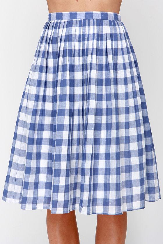 ivory and blue skirt gingham skirt midi skirt