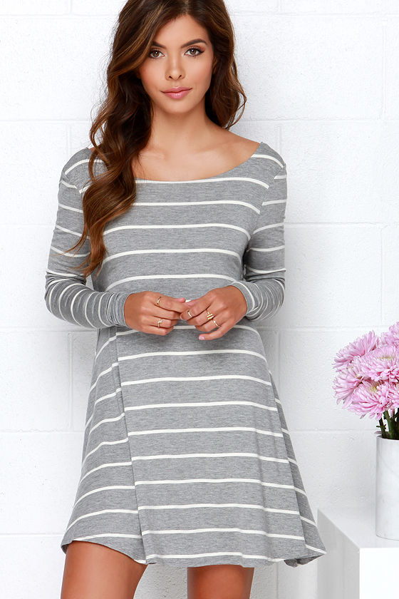 Cute Grey Dress - Striped Dress - Swing Dress - Long Sleeve Dress ...