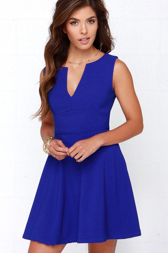 Cute Cobalt Blue Dress - Blue Dress - Skater Dress - $62.00