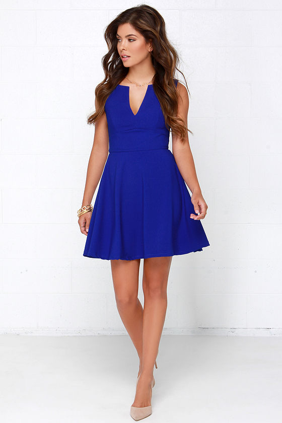 Cute Cobalt Blue Dress - Blue Dress - Skater Dress - $62.00