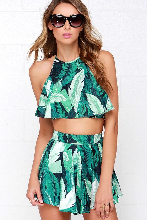 Fun Tropical Print Two Piece Set Green Romper 64 00