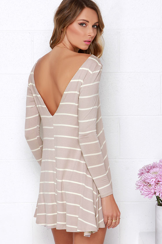 Cute Taupe Dress - Striped Dress - Swing Dress - Long Sleeve Dress ...
