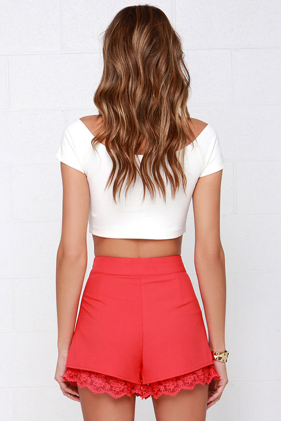 Cute Coral Red Shorts - Lace Shorts - High-Waisted Shorts - $44.00