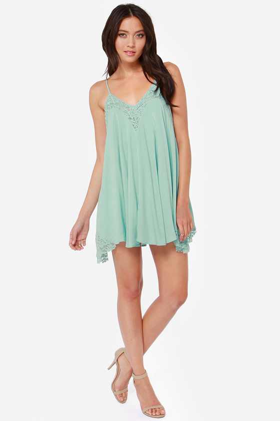 Laced Night Light Blue Lace Dress at Lulus.com!