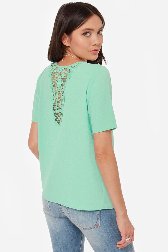 423d53998eb1c2 Cute Mint Top - Mint Green Top - Lace Top - Crocheted Top -  38.00