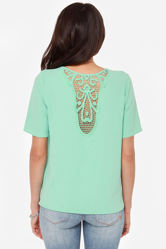 Dreamy Days Mint Green Lace Top at Lulus.com!