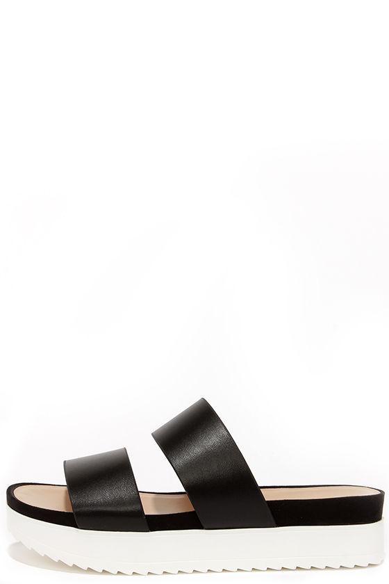 31398d18342 Cute Black Sandals - Flatform Sandals - Slide Sandals -  49.00