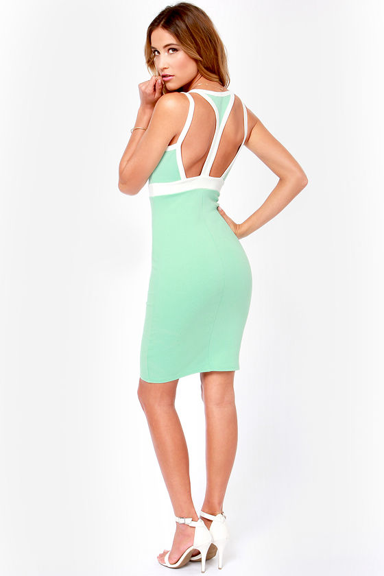 Join the Club Ivory and Mint Green Cutout Dress at Lulus.com!