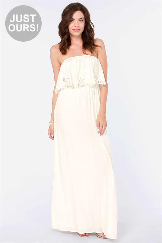 Beautiful Ivory Dress - Maxi Dress - Lace Dress - Strapless Dress -  53.00 a45a592bd