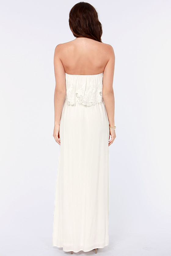 LULUS Exclusive Born Free Ivory Strapless Maxi Dress at Lulus.com!