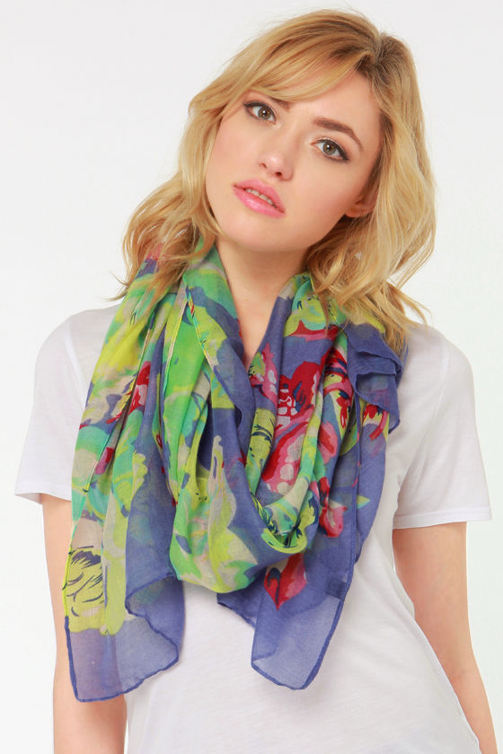 Flowers of the Day Purple Floral Print Scarf at Lulus.com!