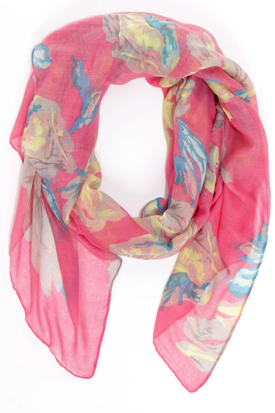 Flowers of the Day Pink Floral Print Scarf at Lulus.com!