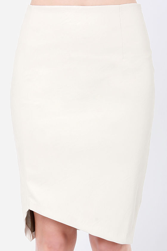 Mink Pink Ready To Start Vegan Leather Cream Skirt at Lulus.com!