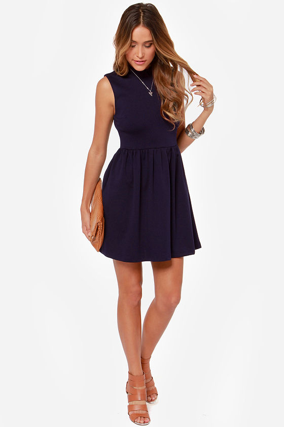 Others Follow Scooter Navy Blue Dress at Lulus.com!