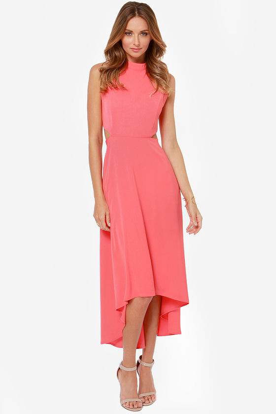 See You Swoon Cutout Coral Pink High-Low Dress at Lulus.com!