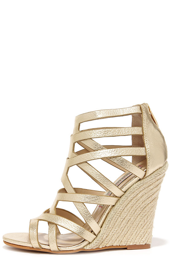 32ba4f44741 Chinese Laundry Lux Light Gold Leather Caged Espadrille Wedges