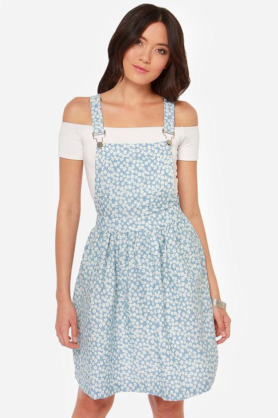 ba67936b11a9 Cute Blue Dress - Overall Dress - Floral Print Dress -  46.00