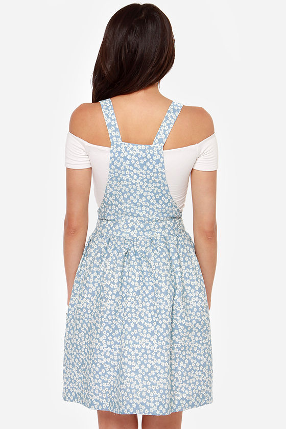 Over and Sprout Blue Floral Print Overall Dress at Lulus.com!
