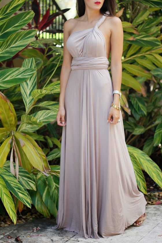 Tricks of the Trade Taupe Maxi Dress 12