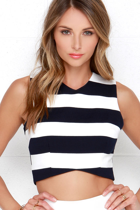 7d3e08411024e Striped Crop Top - Ivory and Navy Blue Top - Fitted Crop Top -  42.00