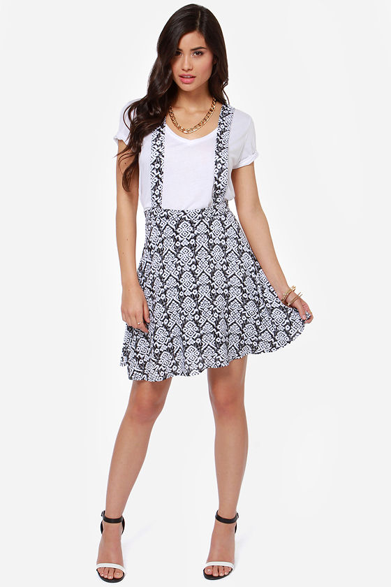 Forever Free Ivory and Black Print Suspender Skirt at Lulus.com!