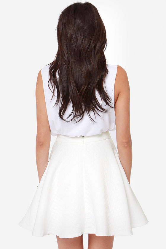 Truth or Flare White Skater Skirt at Lulus.com!