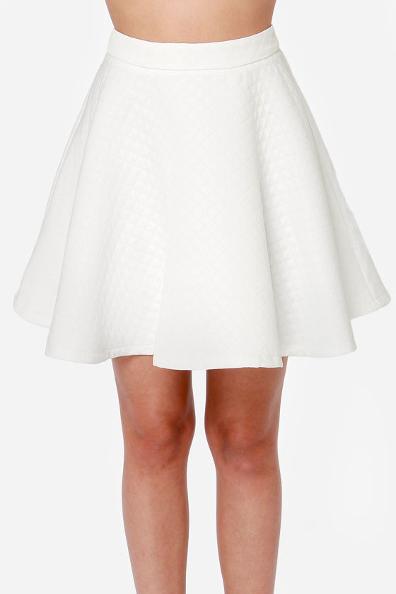Sexy Ivory Skirt - Skater Skirt - High-Waisted Skirt - $49.00