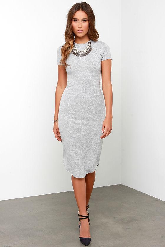Cute Heather Grey Dress - Midi Dress - Short-Sleeve Dress -  68.00 79a3be1c781a