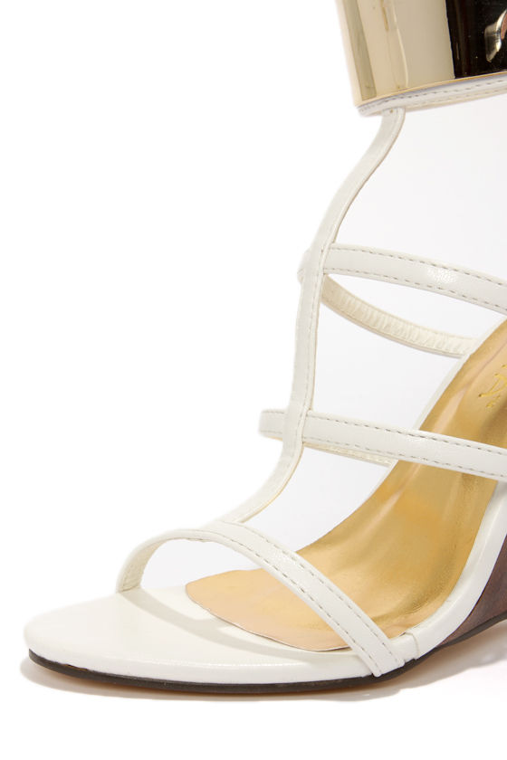 Liliana Jaida 4 White Gold-Plated T-Strap Wedges at Lulus.com!