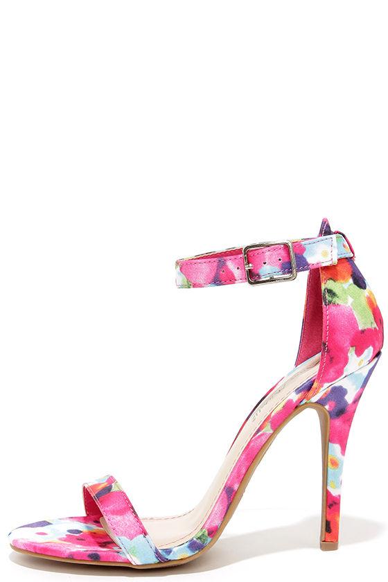 2c89de6010 Sexy Single Strap Heels - Fuchsia Floral Ankle Strap Heels