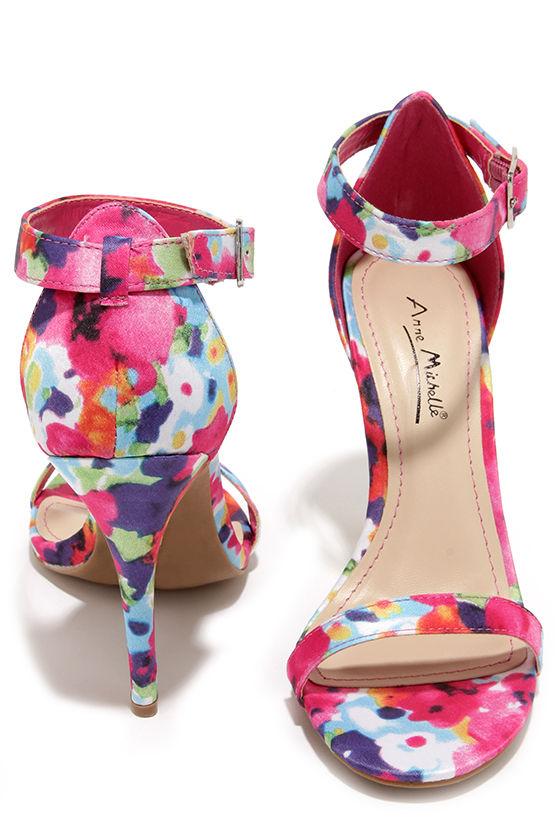 6d2e84d0fd8c Anne Michelle Enzo 01Y Fuchsia Floral Print Single Strap Heels