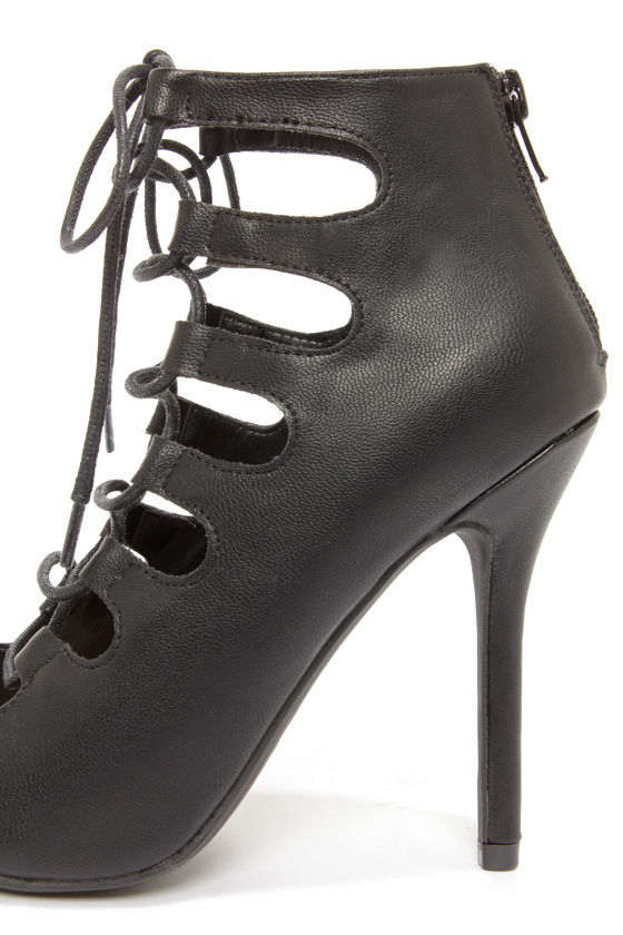 My Delicious Misty Black Lace-Up Peep Toe Heels at Lulus.com!
