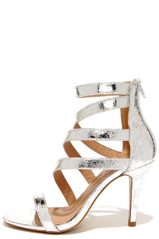 Chic Silver Heels - Vegan Leather Heels - Caged Heels - $39.00