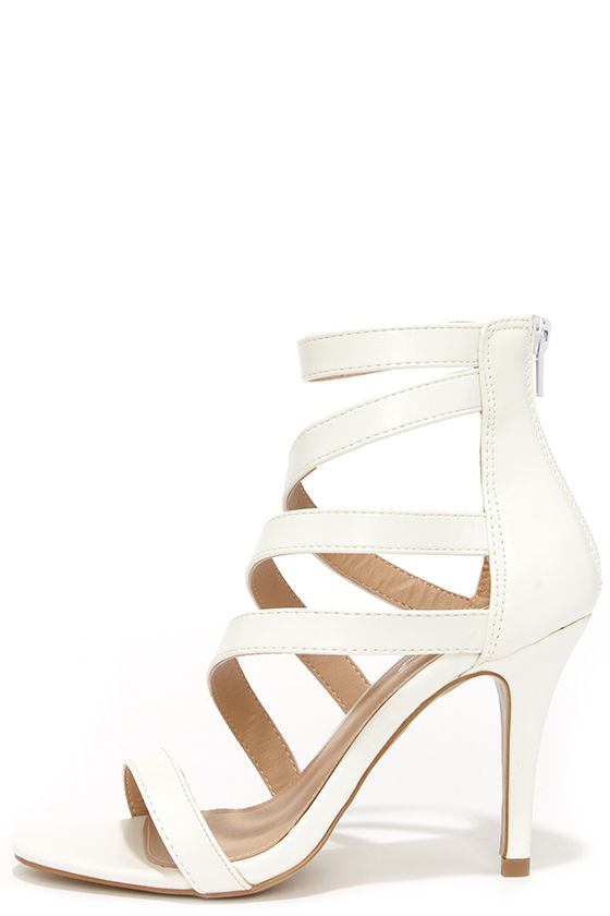 09364e995def46 Chic White Heels - Vegan Leather Heels - Caged Heels -  39.00