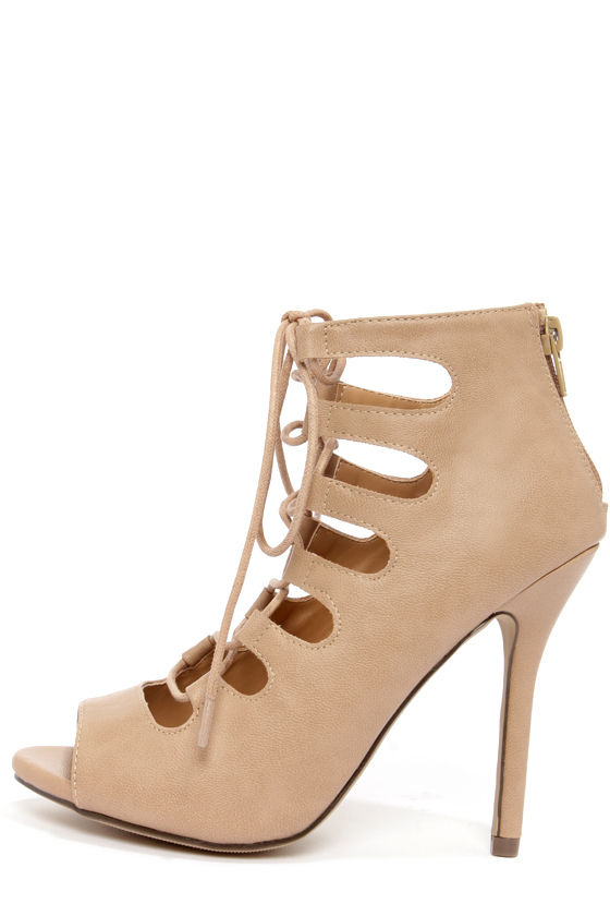 426265052667 Cute Camel Heels - Peep Toe Heels - Lace-Up Heels - Camel Booties -  29.00