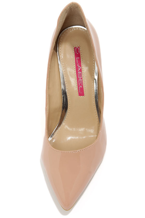 C Label Luxe 18 Nude Patent High Back Heels at Lulus.com!