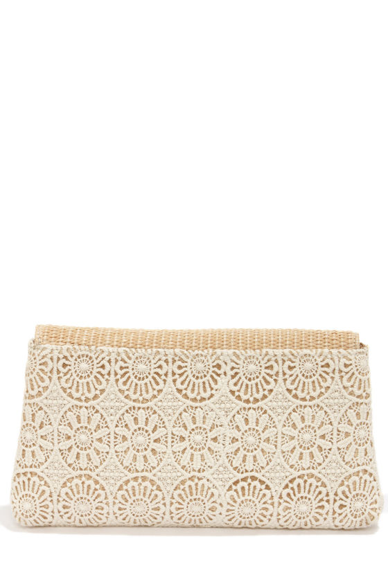 Crochet In Touch Cream Lace Clutch at Lulus.com!