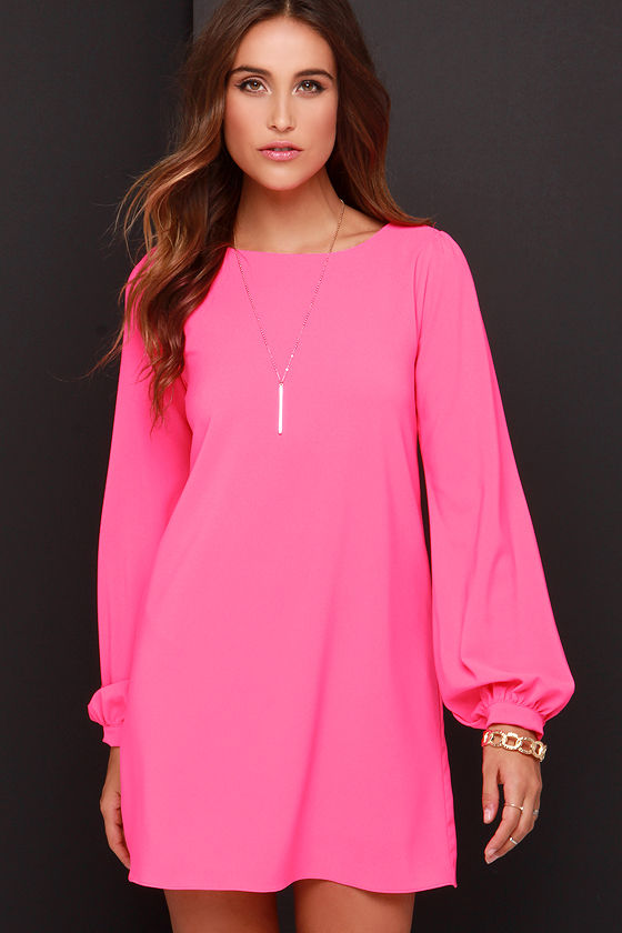 Cute Hot Pink Dress - Shift Dress - Long Sleeve Dress - $38.00
