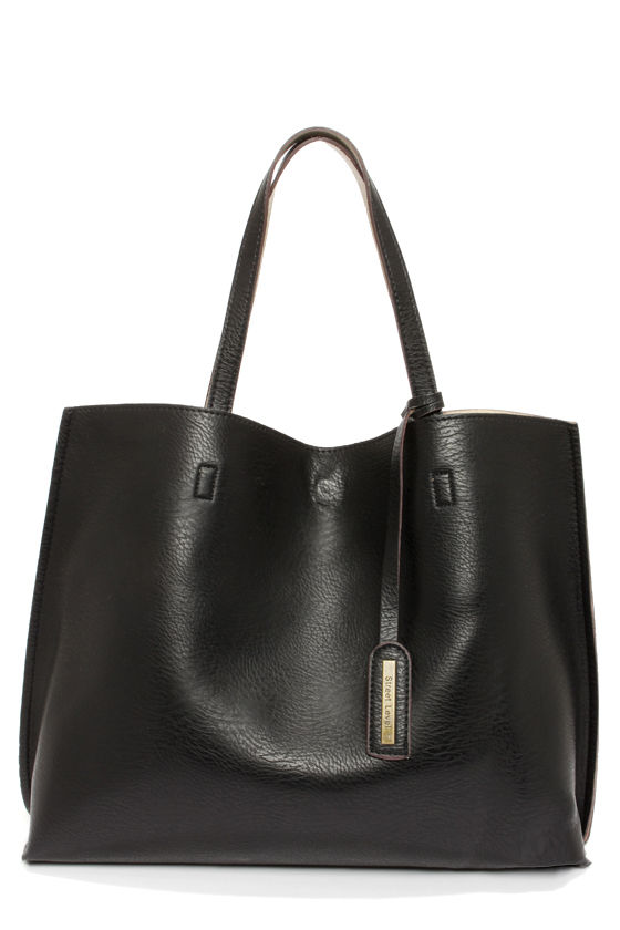 Cute Black Tote - Reversible Tote - Vegan Leather Purse - $59.00