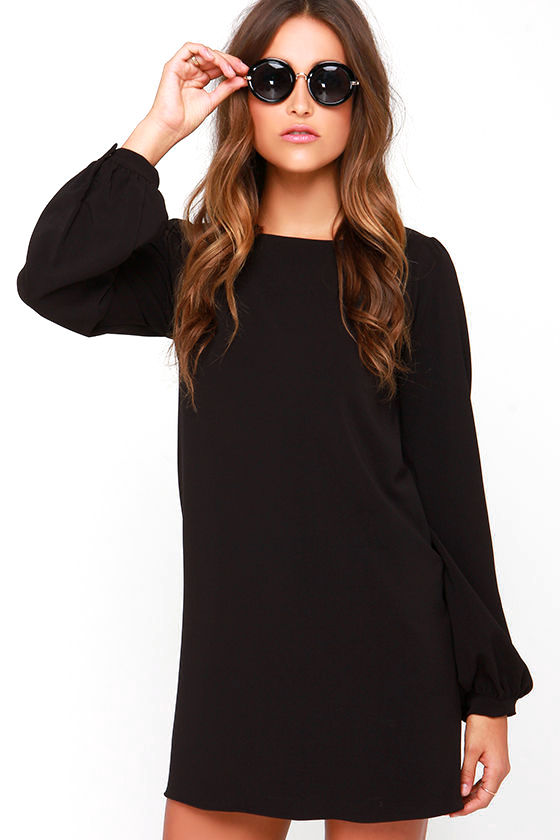 Cute Black Dress Shift Dress Long Sleeve Dress 3800