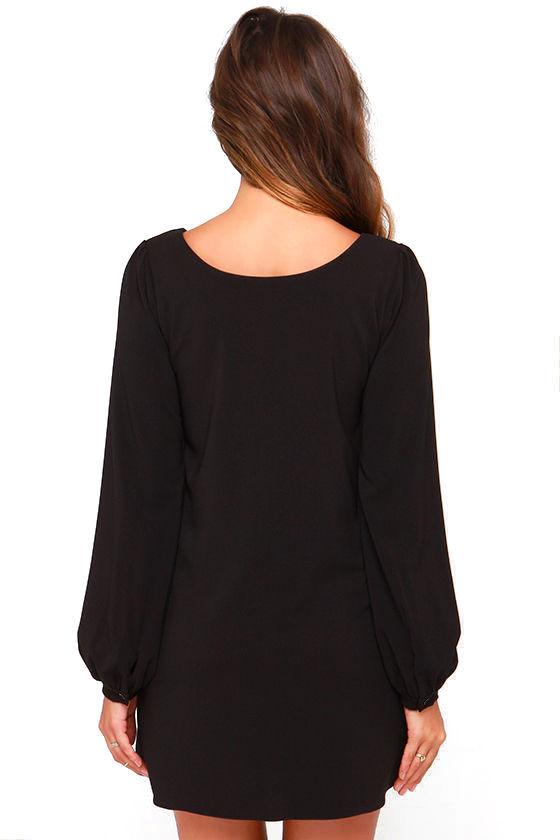 Cute Black Dress - Shift Dress - Long Sleeve Dress - $38.00