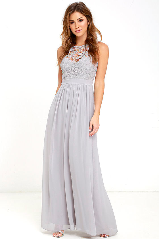 81558475694 Lovely Grey Dress - Lace Dress - Maxi Dress - Backless Dress -  68.00