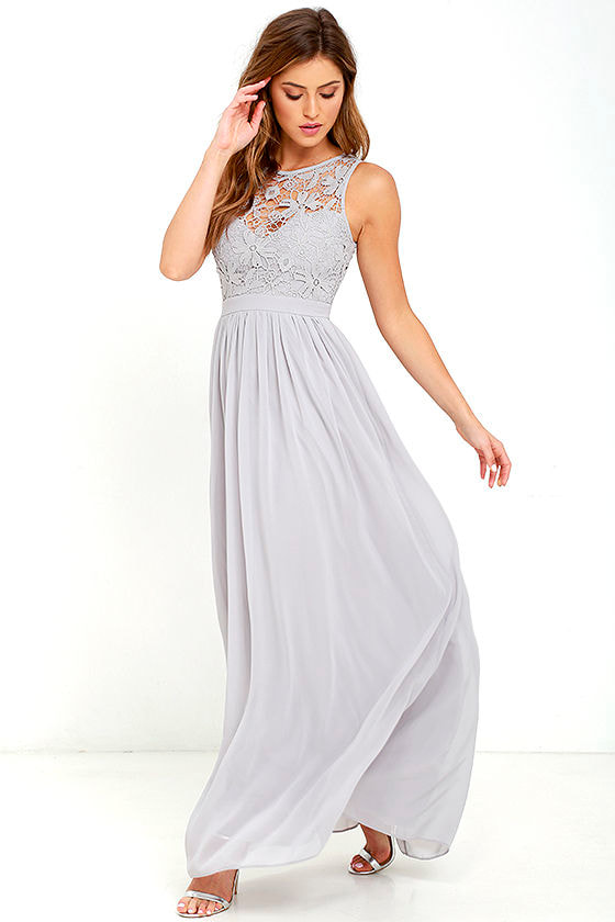 Lovely Grey Dress - Lace Dress - Maxi Dress - Backless Dress - $68.00