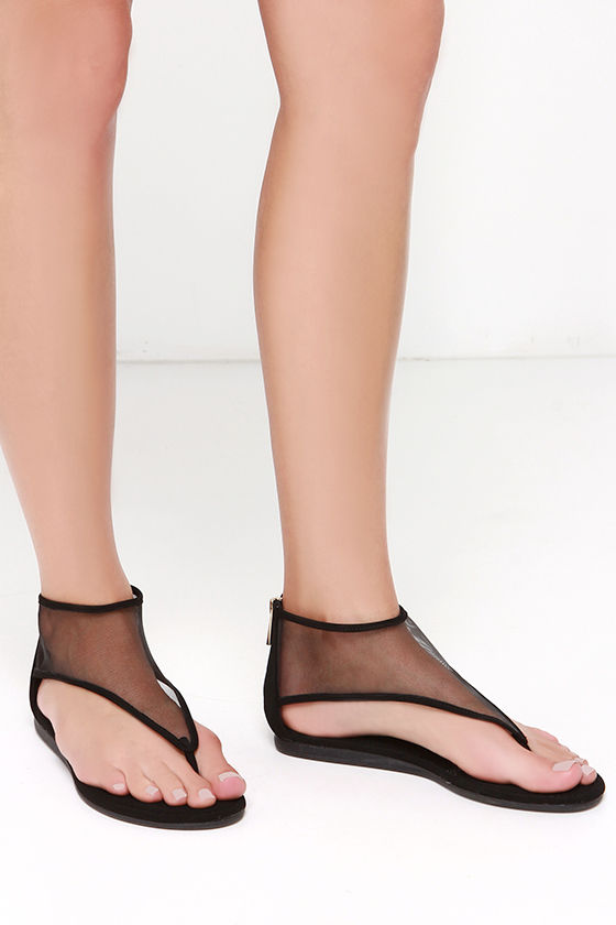 2a8be9aa3 Cute Black Sandals - Ankle Cuff Sandals - Thong Sandals -  21.00