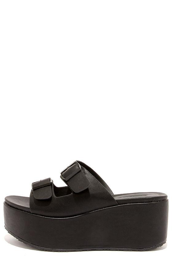58badb7613dc Cute Black Sandals - Flatform Sandals - Slide Sandals - Flatforms -  31.00
