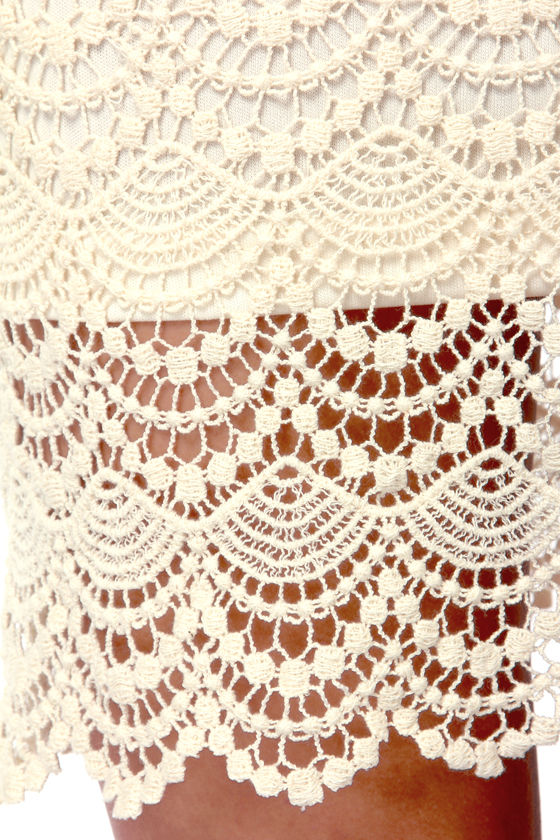 Crocheted For You Cream Lace Dress at Lulus.com!