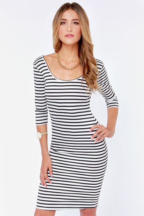 Sexy Striped Dress - Black and White Dress - Bodycon Dress - $34.00