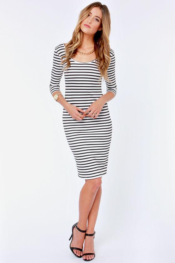 Sexy Striped Dress - Black and White Dress - Bodycon Dress - $34.00