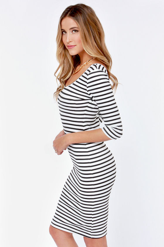 Black and white vertical striped bodycon dress